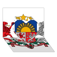 Coat Of Arms Of Latvia Heart 3d Greeting Card (7x5)