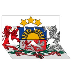 Coat Of Arms Of Latvia Twin Hearts 3d Greeting Card (8x4)