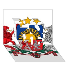 Coat Of Arms Of Latvia Love 3d Greeting Card (7x5)