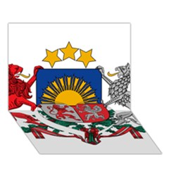 Coat Of Arms Of Latvia Heart Bottom 3d Greeting Card (7x5)