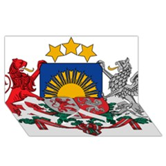 Coat Of Arms Of Latvia Twin Heart Bottom 3d Greeting Card (8x4)