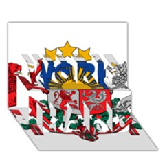 Coat Of Arms Of Latvia Work Hard 3d Greeting Card (7x5)