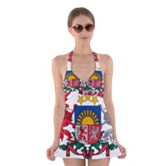 Coat Of Arms Of Latvia Halter Swimsuit Dress
