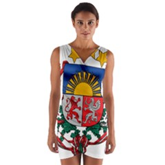 Coat Of Arms Of Latvia Wrap Front Bodycon Dress