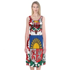 Coat Of Arms Of Latvia Midi Sleeveless Dress