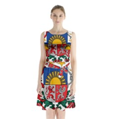 Coat Of Arms Of Latvia Sleeveless Waist Tie Dress