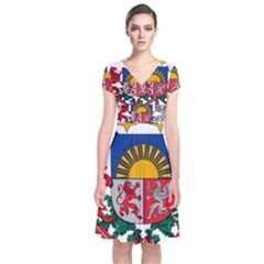 Coat Of Arms Of Latvia Short Sleeve Front Wrap Dress