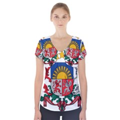 Coat Of Arms Of Latvia Short Sleeve Front Detail Top