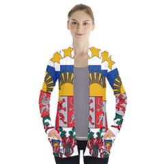 Coat Of Arms Of Latvia Women s Open Front Pockets Cardigan(p194)