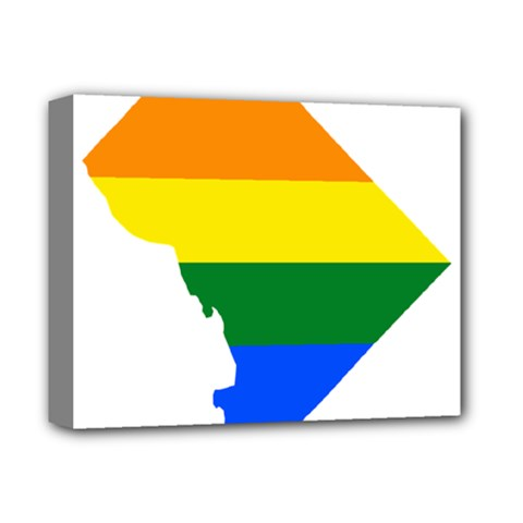 Lgbt Flag Map Of Washington, D C Deluxe Canvas 14  X 11