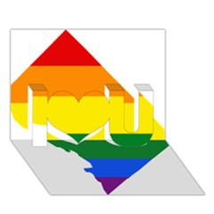 Lgbt Flag Map Of Washington, D C I Love You 3d Greeting Card (7x5)