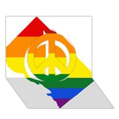 Lgbt Flag Map Of Washington, D C Peace Sign 3d Greeting Card (7x5)