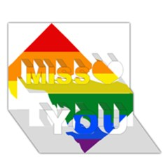 Lgbt Flag Map Of Washington, D C Miss You 3d Greeting Card (7x5)