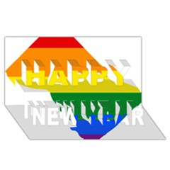 Lgbt Flag Map Of Washington, D C Happy New Year 3d Greeting Card (8x4)