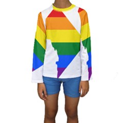 Lgbt Flag Map Of Washington, D C Kid s Long Sleeve Swimwear