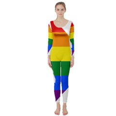 Lgbt Flag Map Of Washington, D C Long Sleeve Catsuit
