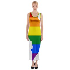 Lgbt Flag Map Of Washington, D C Fitted Maxi Dress