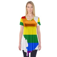 Lgbt Flag Map Of Washington, D C Short Sleeve Tunic