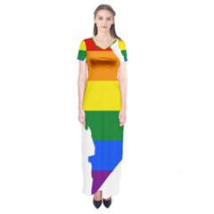 Lgbt Flag Map Of Washington, D C Short Sleeve Maxi Dress