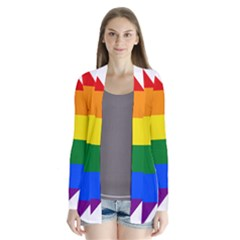 Lgbt Flag Map Of Washington, D C Drape Collar Cardigan