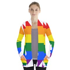 Lgbt Flag Map Of Washington, D C Women s Open Front Pockets Cardigan(p194)