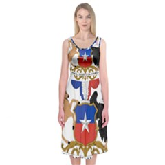 Coat Of Arms Of Chile  Midi Sleeveless Dress