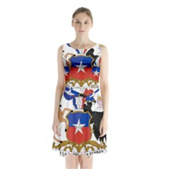 Coat Of Arms Of Chile  Sleeveless Waist Tie Dress