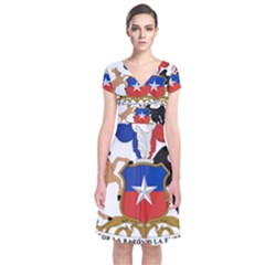 Coat Of Arms Of Chile  Short Sleeve Front Wrap Dress