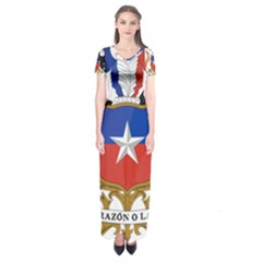Coat Of Arms Of Chile  Short Sleeve Maxi Dress