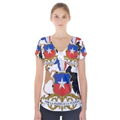 Coat Of Arms Of Chile  Short Sleeve Front Detail Top