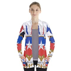 Coat Of Arms Of Chile  Women s Open Front Pockets Cardigan(P194)