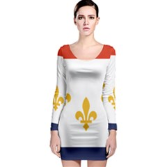 Flag Of New Orleans  Long Sleeve Bodycon Dress