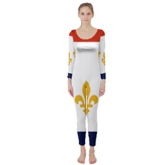 Flag Of New Orleans  Long Sleeve Catsuit
