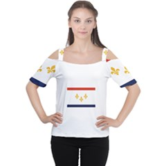Flag Of New Orleans  Women s Cutout Shoulder Tee