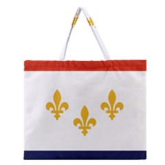 Flag Of New Orleans  Zipper Large Tote Bag