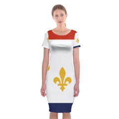 Flag Of New Orleans  Classic Short Sleeve Midi Dress