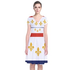 Flag Of New Orleans  Short Sleeve Front Wrap Dress
