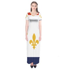 Flag Of New Orleans  Short Sleeve Maxi Dress