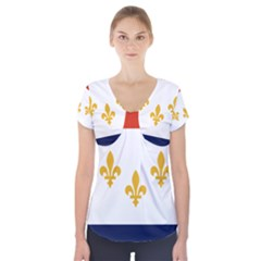 Flag Of New Orleans  Short Sleeve Front Detail Top