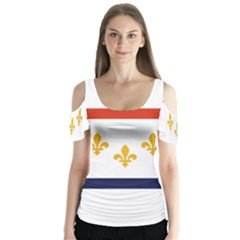 Flag Of New Orleans  Butterfly Sleeve Cutout Tee