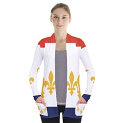 Flag Of New Orleans  Women s Open Front Pockets Cardigan(p194)