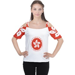 Emblem Of Hong Kong  Women s Cutout Shoulder Tee