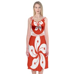 Emblem Of Hong Kong  Midi Sleeveless Dress
