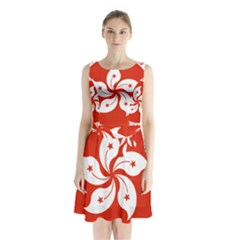 Emblem Of Hong Kong  Sleeveless Waist Tie Dress