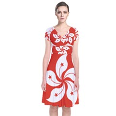 Emblem Of Hong Kong  Short Sleeve Front Wrap Dress