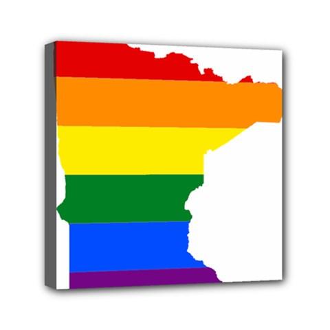 Lgbt Flag Map Of Minnesota  Mini Canvas 6  X 6