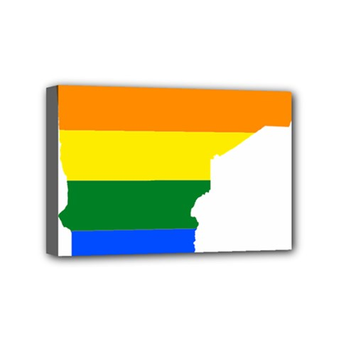 Lgbt Flag Map Of Minnesota  Mini Canvas 6  X 4