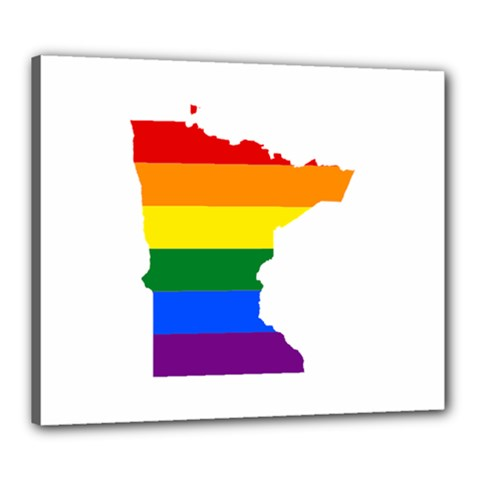 Lgbt Flag Map Of Minnesota  Canvas 24  X 20