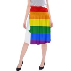 Lgbt Flag Map Of Minnesota  Midi Beach Skirt