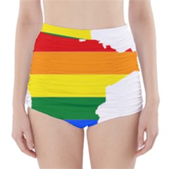 Lgbt Flag Map Of Minnesota  High Waisted Bikini Bottoms